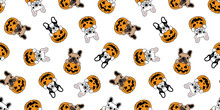 Dog Seamless Pattern Vector French Bulldog Pumpkin Halloween Cartoon Scarf Cartoon Isolated Repeat Wallpaper Tile Background Illustration