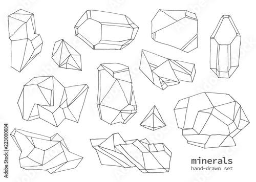 Fototapeta Set of hand-drawn line art polygonal crystals