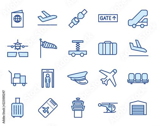 Fotografie, Tablou Flughafen Vector Illustration Icon Set