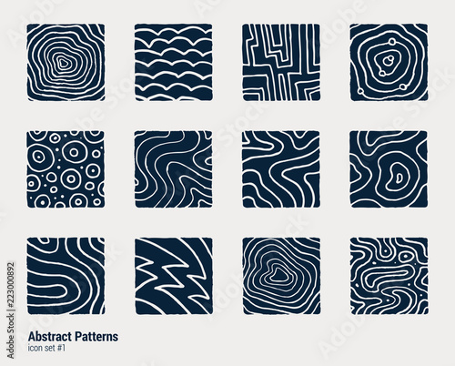 Fototapeta Collection of hand-drawn abstract scientific illustrations