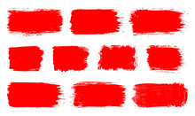 Red Paint Spot Set. Vector Red Paint, Ink Vector Brush Splash, Brush, Stroke, Spot, Frame Or Texture Collection. Grunge Paintbrushes, Backgrounds, Ink Boxes. Banner, Shape, Label, Sticker And Badge.