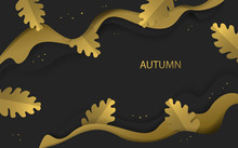 Abstract Autumn Fall Thanksgiving Season Gold And Black Colored Banner With Paper Art Style Oak Leaves