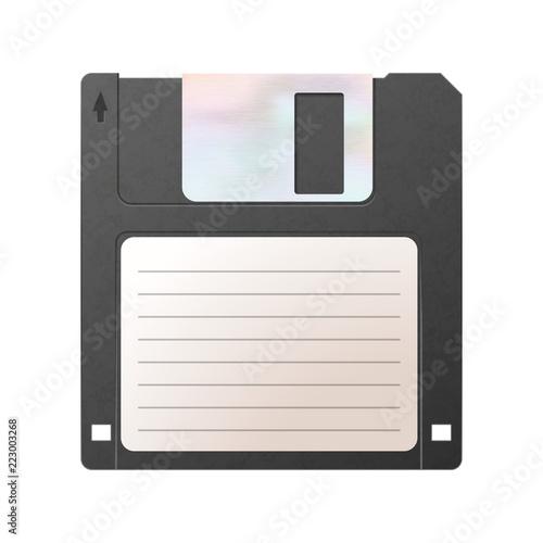 Realistic detailed floppy-disk, retro object isolated on white Fototapet