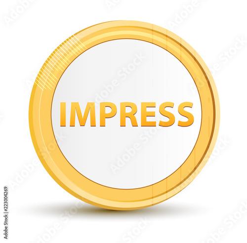 Fotografering  Impress gold round button