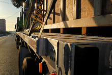 A Big Rig With A Crated Load O...