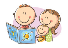 Happy Family Reading A Book To...