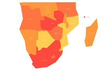 Political Map Of Southern Africa Region. Simlified Schematic Vector Map In Shades Of Orange.
