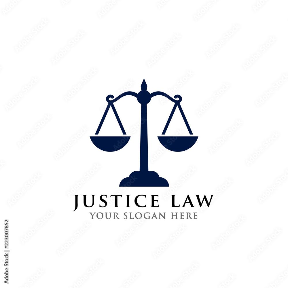 Fototapeta scales vector illustration. attorney logo vector design. justice law logo design template
