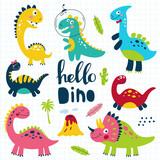 Fototapeta Dinusie - Set of cute dinosaurs for children print. Vector illustration