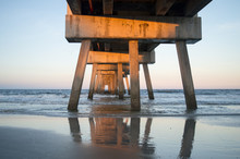 Jacksonville Beach Pier, Florida, United States. Beautiful Perspective Of The Pier