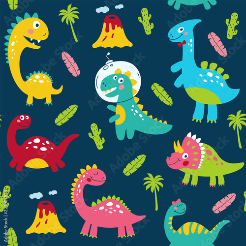 Fotografie, Obraz Seamless pattern with cute dinosaurs for children print