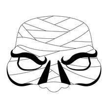 Isolated Halloween Mummy Mask. Vector Illustration Design