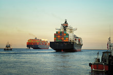 Fully Loaded Container Ships Exiting The Los Angeles Harbor