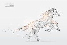 The Particles, Geometric Art, Line And Dot Of Horse Running
