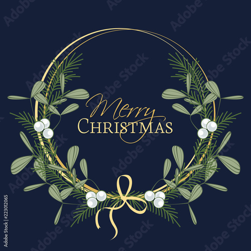 Fotografie, Obraz  Vector illustration of Christmas wreath with branches and mistletoe
