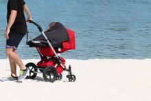 Tourist Man Pushing Baby In St...