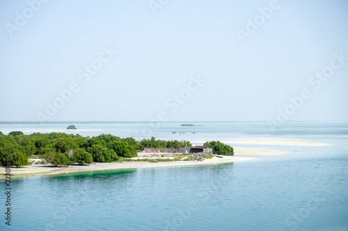 Poster Abou Dabi A Small hut in mangroves trees at Yas Island, Sea Background Abu Dhabi