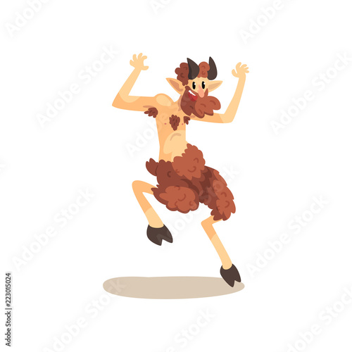 Satyr Faun ancient mythical creature cartoon vector Illustration on a white back Canvas Print