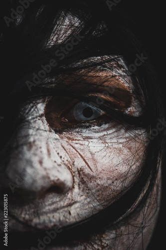 Women monster face and focused eye close up. Canvas Print