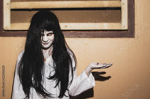 Fényképezés  Concept of horror and holloween, women monster in white dress close up