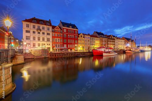 Photo  Copenhagen. The Nyhavn channel is at dawn.