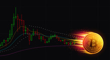 Bitcoin With Graph Down. Financial Concept. Vector Illustration