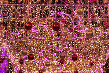 Tent Decorated With Balls And Glare. Christmas And New Years Illuminations Decoration At Night. Moscow. Russia