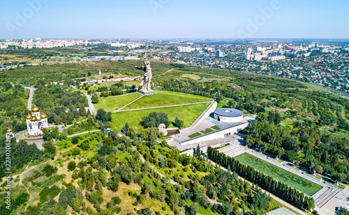Poster Centraal Europa View of Mamayev Kurgan, a hill with a memorial complex commemorating the Battle of Stalingrad. Volgograd, Russia
