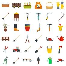 Farming Equipment Garden Icons Set. Flat Illustration Of 25 Farming Equipment Garden Vector Icons For Web