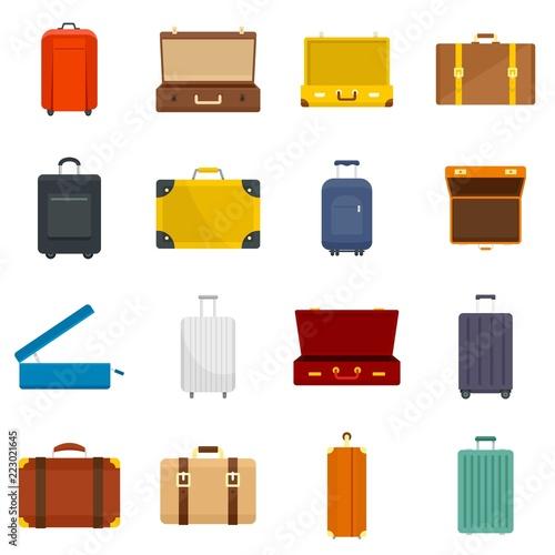 Obraz Suitcase travel luggage bag briefcase icons set. Flat illustration of 16 Suitcase travel luggage bag briefcase vector icons for web - fototapety do salonu