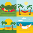 Rest hammock banner set. Flat illustration of rest hammock vector banner set for web design