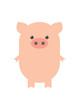 A pig, a pink, funny pig. The year of the pig. Cartoon, vector