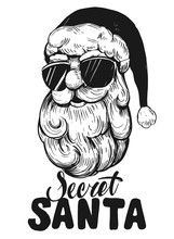 Sketch Of Santa Claus Face. Ecret Santa. Engraving  Style. Hand Drawn Illustration Converted To Vector
