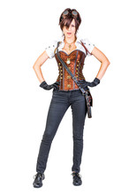 Steampunk Woman Wearing Vintage Corset And Goggles