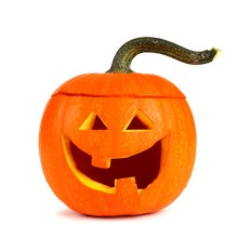 Simple, Cute Halloween Jack O Lantern Isolated On A White Background