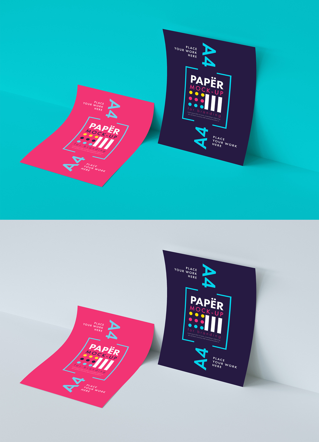 Two Pieces of Paper Mockup