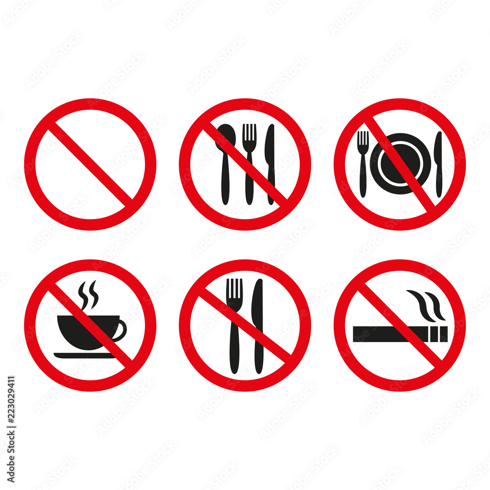 picture about Printable No Smoking Signs called Picture Artwork Print No food stuff and no using tobacco symptoms upon white