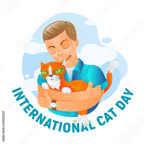 International World Cat Day Vector Illustration With Cute Cartoon Flat Red Cat Friendship Hugs Isolated On White Background Great For Advertising Poster Banner Postcard And Greeting Card Design Buy This Stock