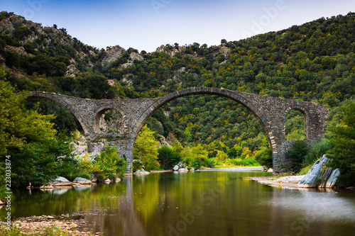 Arch Byzantine stone bridge over Kompsatos river in Rodopi, Greece