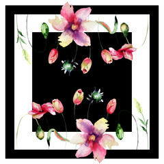 Fototapeta Tulipany Seamless pattern with Tulips flowers, fashion square shawl or pillow design