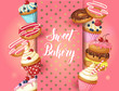 Sweet Bakery background with glazed donuts, cheesecake and cupcakes with cherry, strawberries and blueberries on pink. Hand made lettering. Desert for menu. Food design.