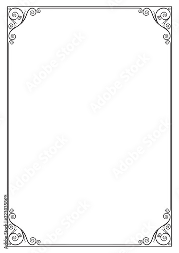 Canvas Print Decorative black rectangular frame for label, certificate, card