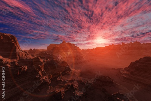 Alien landscape. The stony desert at sunset.