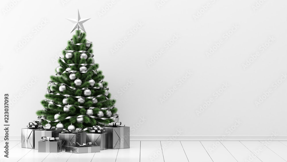 Fototapety, obrazy: decorated christmas tree with gift boxes in white room