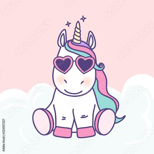 Cute Cartoon Unicorn Vector Graphic Design Hand Drawn Baby Unicorn