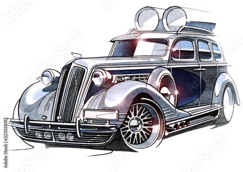 The Sketch Project Is A Demo Of A Retro Car For Participation In The Festival On Acoustic Systems And Auto Sound Buy This Stock Illustration And Explore Similar Illustrations At Adobe
