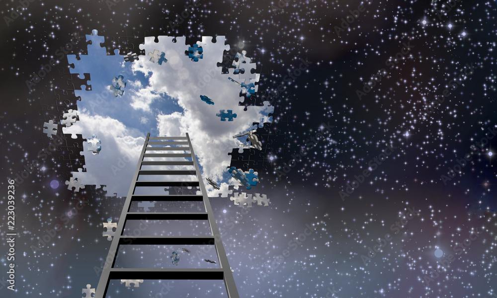 Fototapety, obrazy: Ladder to Hole in Night Sky