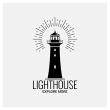Lighthouse Navigation Logo Vintage On White Background