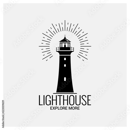 lighthouse navigation logo vintage on white background Wall mural