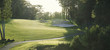 canvas print picture - Back lit golf fairway viewed from the tee box